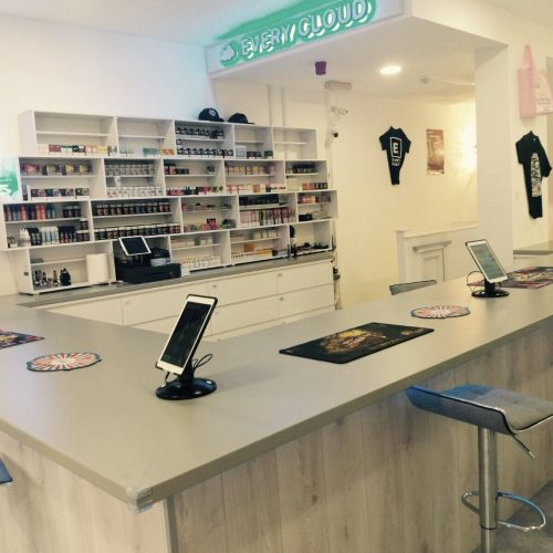 every cloud vape shop, westbourne, inside, cabinets, counter